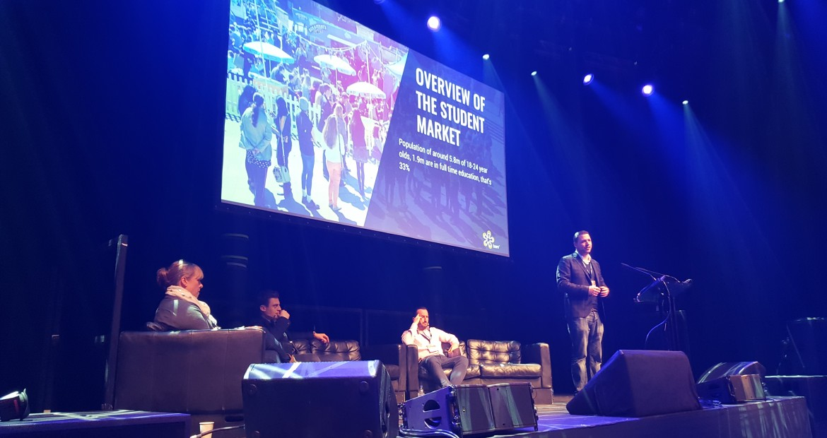 Our David Cook live in the main stage presenting at the 'Overview of the Student market'.