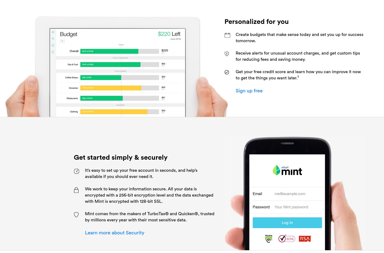 Mint Money Manager Bill Pay Credit Score Budgeting Investing